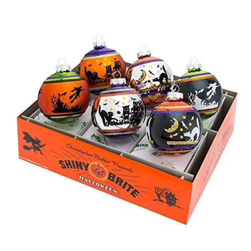 Shiny Brite Halloween Signature Flocked Ombre Ornaments - Set of Six ()