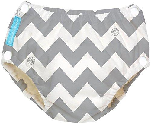 Price comparison product image Charlie Banana Reusable Easy Snaps Swim Diaper Large - Grey Chevron