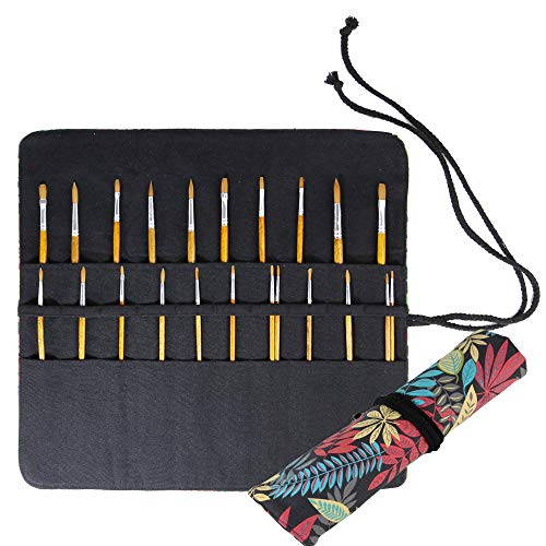 - 15 Inches Paint Brush Holder Roll Up Artist Case Pen Holder 20 Pockets Canvas Pouch Bag (Colorful Leaf)
