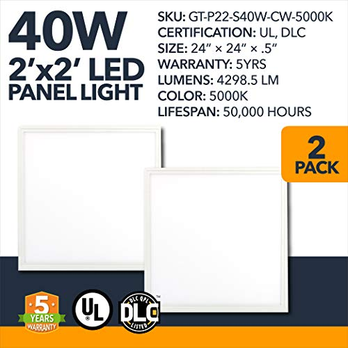 (2' x 2' LED Business Office DLC Panels - 40W - LED Drop Ceiling High Luminosity Indoor Area Lighting, 4298.5 Lumens - Commercial Dimmable Office LED Panels, Frosted - 5000K - 5 Year Warranty - 2 Pack )