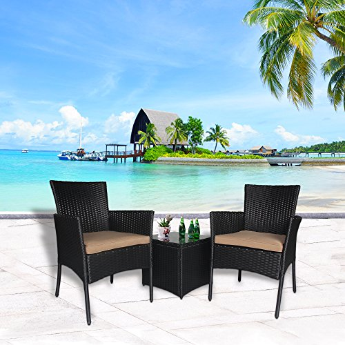 Cloud Mountain Outdoor 3 PC Bistro Sofa Set Wicker Bistro Conversation Set Wicker Sectional Furniture- Two Chairs with Glass Coffee Table, Khaki Cushion with Black Rattan (Wicker Conversation Set)