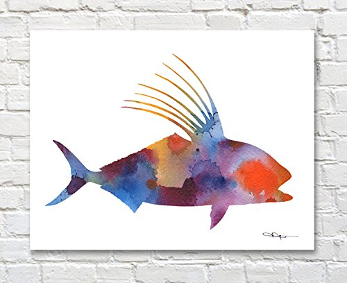 Rooster Fish Abstract Watercolor Art Print by Artist DJ Rogers