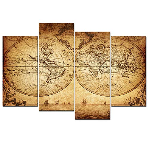 (sechars - Extra Large World Map Wall Art Vintage Map Painting Framed 4 Pieces Canvas Art Retro Antique Map of The World Painting Picture Artwork for Home Office Decor)
