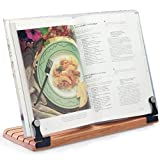 Deluxe Large Cookbook Holder - Acrylic Shield With Cherry Wood Base - Made in the USA