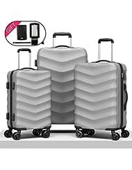 Cheergo Expandable Hardside Luggage Set 3 PCS Hardshell Designer Suitcases with TSA Lock and Luggage Tag