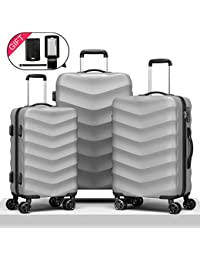 Expandable Hardside Luggage Set 3 PCS Hardshell Designer Suitcases with TSA Lock and Luggage Tag