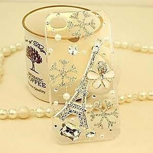ZCL-Diamante de la torre Eiffel y los pétalos caso de la contraportada para el iphone 5 / 5s