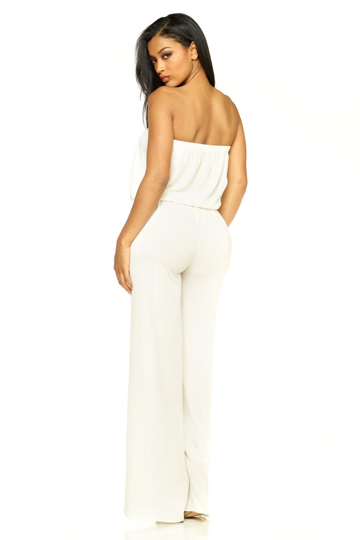 Cemi Ceri Women's J2 Love Strapeless Tube Jumpsuit, Large, White by Cemi Ceri (Image #3)