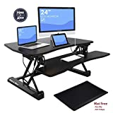 36'' Adjustable Height Standing Office Desk with Anti-fatigue Mat | Stand Up Computer Workstation with Keyboard Tray and Free Standing Pad (Table1)