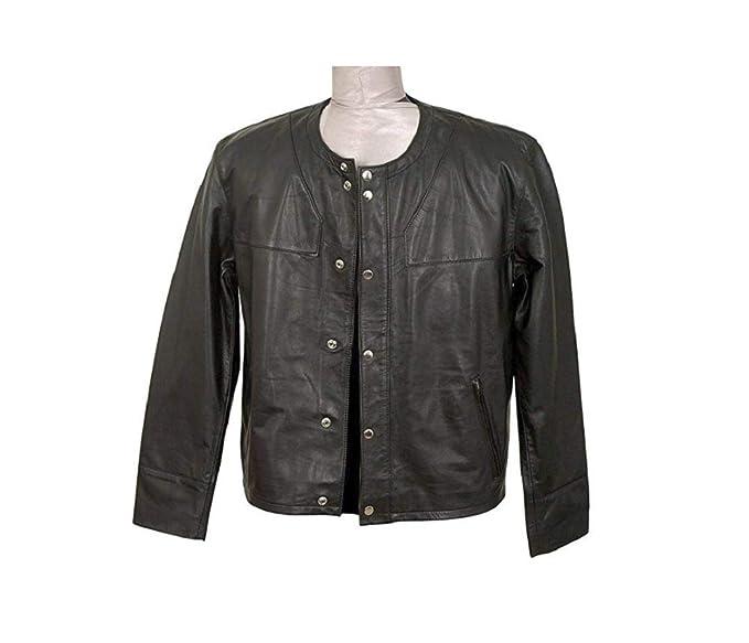 Amazon.com: Chaqueta de piel negra para hombre con diseño ...