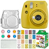 Fujifilm Instax Mini 9 Instant Camera + Fujifilm Instax Mini Twin Pack Instant Film (20 Exposures) + Glitter Hard Case + Colored Filters + Album (White) + Sticker Frames Nature Package (Yellow)