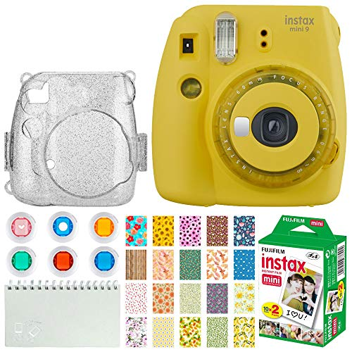 Fujifilm Instax Mini 9 Instant Camera + Fujifilm Instax Mini Twin Pack Instant Film (20 Exposures) + Glitter Hard Case + Colored Filters + Album (White) + Sticker Frames Nature Package (Yellow) (Yellow Polaroid Camera With Film)