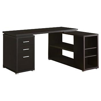 Monarch Specialties Hollow Core Left Or Right Facing Corner Desk, Cappuccino