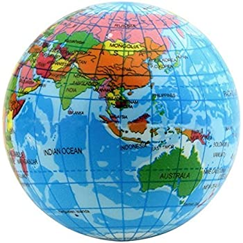 Amazon educational toy world atlas geography map earth globe educational toy world atlas geography map earth globe stress relief bouncy foam ball for kids children gumiabroncs Choice Image