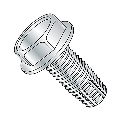 1//4-20 Thread Size Pack of 25 Steel Thread Cutting Screw 1-1//4 Length Zinc Plated Finish Serrated Hex Washer Head Type F