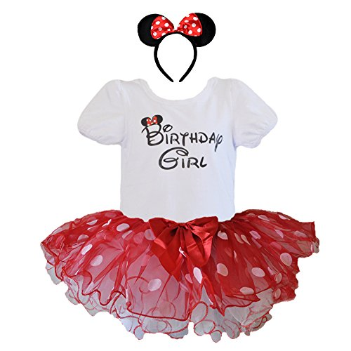 Birthday Girl T-Shirt with Polka Dot Tutu and Headband 3 PCs Set (Age 3, Red and White with White dots)