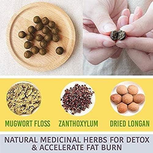 Herbal Slimming Tummy Pellet, Unisex Moxa Navel Paste, Natural Ingredients Firming Abdomen Legs Arms Herbal, Chinese Medicine Wormwood Sticker for Unisex 5