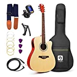 Vangoa - 41'' Full-Size VG-41ECNA Natural Acoustic Electric Cutaway Guitar + 4 Band EQ with Bag, Strap, Tuner, String, Picks, Capo