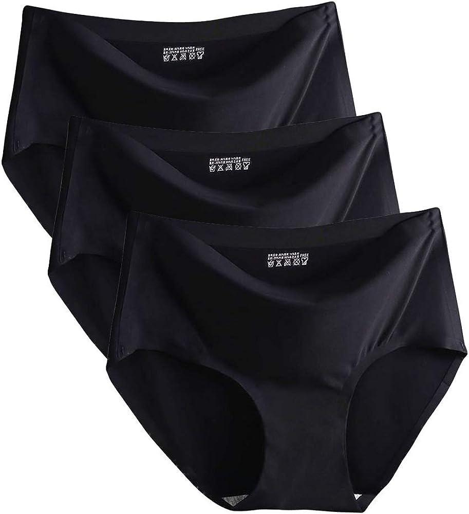 Bragas Ropa Interior de Bikini sin Costuras Invisibles para Mujer Ropa Interior de Seda de Hielo Hipster Transpirable