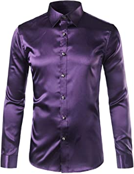 YFSLC-Studio Camisa De Manga Larga Hombre,Púrpura Oscuro ...
