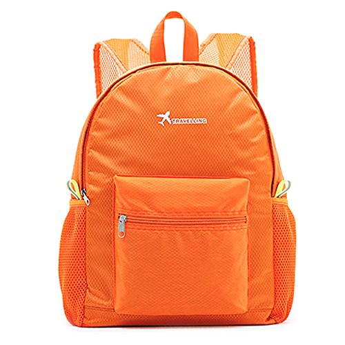 Lamdoo Blue Portable Travel Daypack Sports Camping Backpack Foldable Lightweight Nylon Orange Bag H7Hqr