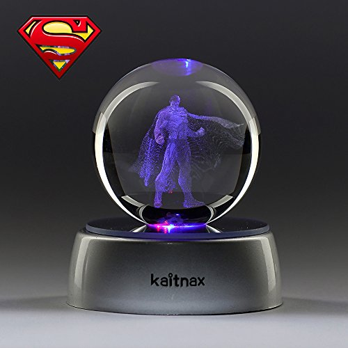 3D Laser Etched Crystal Ball(50mm) Puzzle With LED Base (Superman)