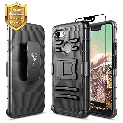 NageBee Google Pixel 3 XL Case w/[Full Coverage Tempered Glass Screen Protector], Belt Clip Holster Defender Heavy Duty Armor Shockproof Kickstand Combo Rugged Case -Black