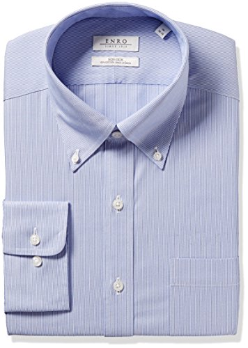 Enro Men's Classic Fit Big-Tall Wilkensen Stripe Dress Shirt, Blue, 20