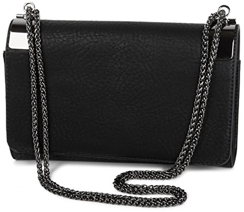 styleBREAKER Clutch, Abendtasche mit Metallspangen und Gliederkette, Vintage Design, Damen 02012046, Farbe:Schwarz