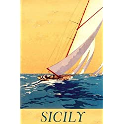 "Sicily Italy Italian Sail Boat Sailboat Ocean Sea Travel Tourism 36"" X 48"" Image Size Vintage Poster Reproduction we have other sizes available"