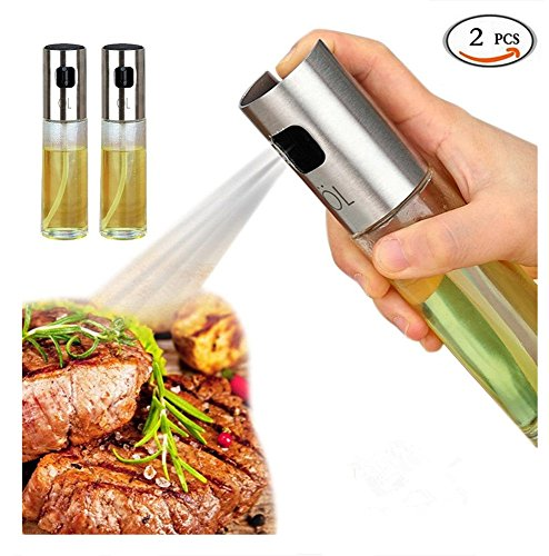 2 Pack Olive Oil Sprayer Sauce Vinegar Transparent Glass Bottle Dispenser for BBQ/ Cooking Stainless Steel Leak- Proof Drops