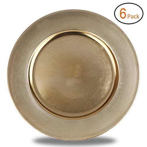 FANTASTIC :)  Round 13 Inch Plastic Charger Plates with Metallic Finish (6, Plain Gold)