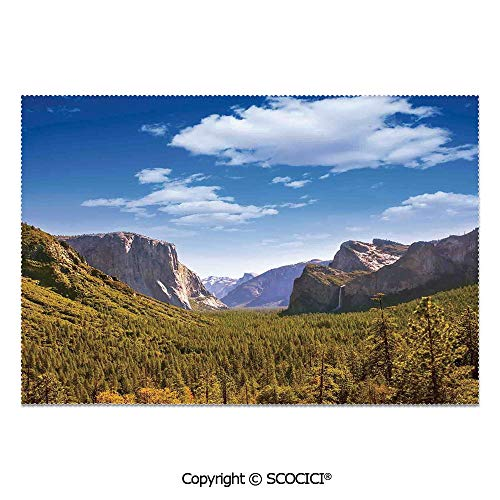 SCOCICI Place Mats Set of 6 Personalized Printed Non-Slip Table Mats Yosemite El Capitan and Half Dome in California National Parks US Summertime View for Dining Room Kitchen Table Decor