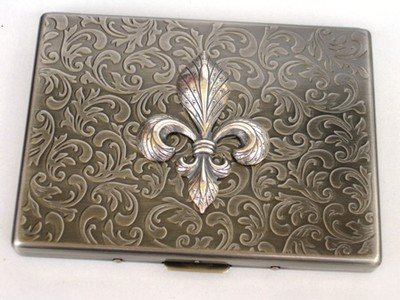 Glazed Black Cherry Steampunk Metal Fleur DE LIS Cigarette Case Slim Wallet Large Card Case ASS1 4