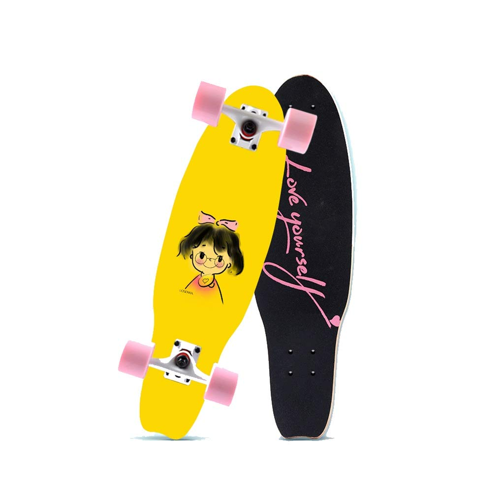 HXGL-Skateboards Small Fish Plate Brush Street Professional Skateboard Board Travel Youth Children Adult Boys and Girls Big Fish Board - Freckles Girls (Size : L)