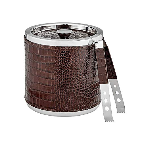 ICE Bucket Tongs Brown Croco-Leather by Graphic Image(r) -