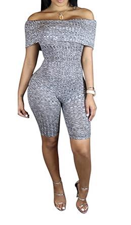 1e52939d769 Amazon.com  Women Sexy Off Shoulder Short Sleeve Capri pants Clubwear Short  Romper Jumpsuit (Label L