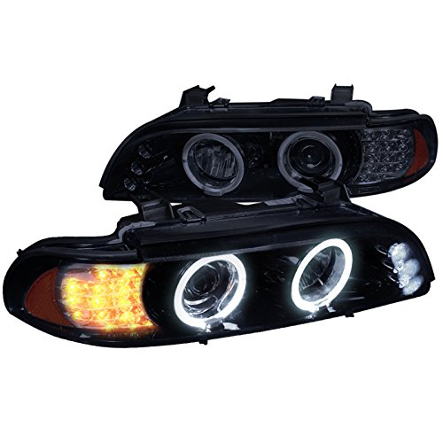 Spec-D Tuning 2LHP-E3997G-8V2-TM Bmw 5 Series Led Signal Glossy Black Housing Halo Projector Head Lights ()