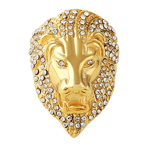 HZMAN Mens Cubic Zirconia Iced Out Lion 18K Gold Plated Stainless Steel Rings