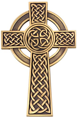 Pewter Knotted Celtic Wall Cross with Antique Gold Tone Finish, 8 Inch