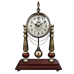 Graces Dawn Retro Simple metal style Mantel Chime pendulum clock Brown Solid Oak and metal electroplating bronze color,Bracket clock,Sitting clock,Table clock,pendulum clock,Decorative bells