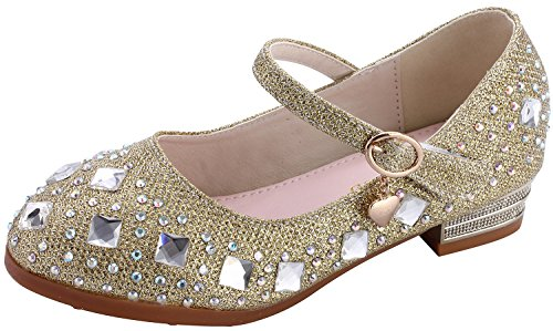 miaoshop Kids Girls Low Heel School Shoes Party Princess Glitter Rhinestones Dress Pumps (9.5 M US Toddler, Gold)