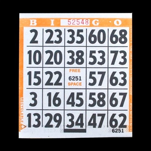 1 on Large Print Easy Read Bingo Paper Cards - Orange - 500 cards SmallToys