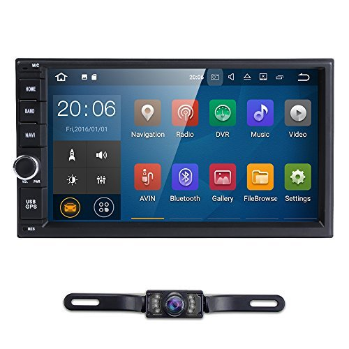 Standard Double 2 Din Android 7.1 In Dash Car Stereo Radio GPS Navigation Support 4G WIFI Bluetooth Mirrorlink with Rear Camera (Car Stereo Iso)