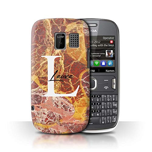 Stone Asha 3 - Personalized Custom Marble Stone Fashion Case for Nokia Asha 302 / Luxury Rose Gold Quartz Design/Initial/Name/Text DIY Cover