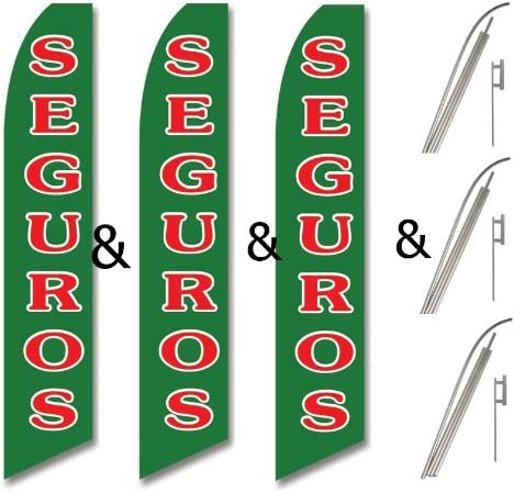 Three Pack Swooper Flags /& Pole Kits Green with Red White Text SEGUROS 3