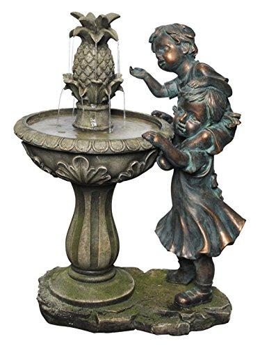 Alpine Boy and Girl Fountain w/Pineapple Top, 27 Inch Tall