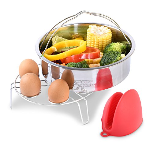 Swift Steam Steamer Basket with Egg rack compatible with Instant pot - Steamer, Trivet and Silicon Mitts combo - fits 5 / 6/ 8 Quart