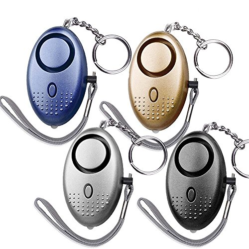 DLAND 130db Safesound Personal Alarm Set of 4, Personal Security Alarm Keychains with LED Safty Light and Emergency Alarm, Self Defense Electronic Device for Women Girls Elderly Safety. (Mixed Color)