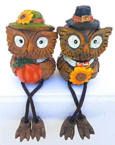 Fall Autumn Thanksgiving Harvest Set of 2 Owl Shelf (Sexy Sunflower Scarecrow Costumes)